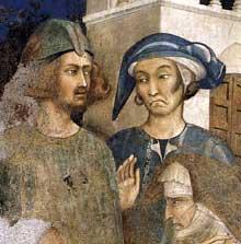 Simone Martini: le Miracle de l'enfant ressuscité (détail). 1312-1317. Fresque. Assise, chapelle Saint Martin, église inférieure Saint François