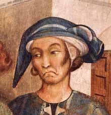 Simone Martini: le Miracle de l'enfant ressuscité, détail. 1312-1317. Fresque, 34 x 34 cm. Assise, chapelle Saint Martin, église inférieure Saint François