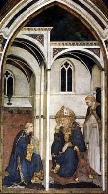 Simone Martini: la méditation de saint Martin (scène 6). 1312-1217. Fresque, 390 x 200 cm. Assise, chapelle Saint Martin, église inférieure Saint François