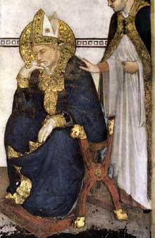Simone Martini: la méditation de saint Martin (détail). 1312-1217. Fresque, 390 x 200 cm. Assise, chapelle Saint Martin, église inférieure Saint François