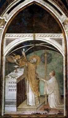 Simone Martini: la messe miraculeuse (scène 7). 1312-1317. Fresque, 390 x 200 cm. Assise, chapelle Saint Martin, église inférieure Saint François