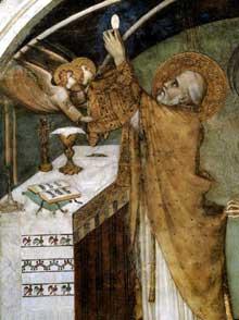 Simone Martini: la messe miraculeuse (détail). 1312-1317. Fresque. Assise, chapelle Saint Martin, église inférieure Saint François