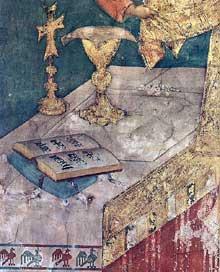 Simone Martini: la messe miraculeuse (détail). 1312-1317. Fresque, 68 x 56 cm. Assise, chapelle Saint Martin, église inférieure Saint François