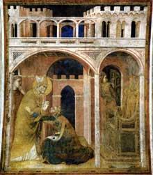 Simone Martini: le miracle du feu (scène 8). 1312-1317. Fresque, 296 x 230 cm. Assise, chapelle Saint Martin, église inférieure Saint François