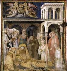 Simone Martini: la mort de Saint Martin (scène 9). 1312-1317. Assise, chapelle Saint Martin, église inférieure Saint François