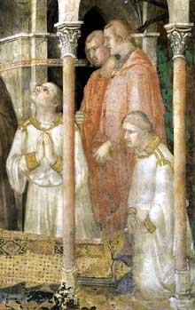 Simone Martini: la mort de Saint Martin, détail: remarquable est ma ressemblance du chevalier du petit édicule avec le portrait de Robert d'Anjou du retable de Naples réalisé par Simone. 1312-1317. Assise, chapelle Saint Martin, église inférieure Saint François
