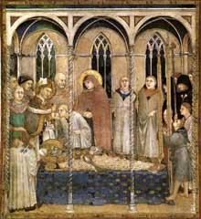 Simone Martini: l'enterrement de saint Martin (scène 10).1312-1317. Fresque, 284 x 230 cm. Assise, chapelle Saint Martin, église inférieure Saint François