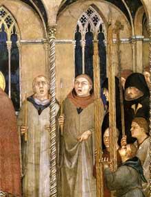 Simone Martini: l'enterrement de saint Martin (détail).1312-1317. Fresque, 140 x 78 cm. Assise, chapelle Saint Martin, église inférieure Saint François