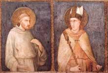 Simone Martini: Saint François et Saint Louis de Toulouse. 1318. Fresque, 120 x 152 cm. Assise, église inférieure Saint François