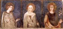 Simone Martini: Sainte Elisabeth, Sainte Marguerite et Henri de Hongrie. 1318. Fresque, 120 x 228 cm. Assise, église inférieure Saint François