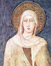 Simone Martini: Sainte Marguerite de Hongrie, détail. 1318. Fresque, 67 x 55 cm. Assise, église inférieure Saint François