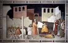 Maso di Banco: Le miracle du pape Sylvestre. Vers 1340. Fresque, largeur, 534 cm. Florence, Santa Croce, chapelle di Bardi di Vernio