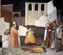 Maso di Banco: Le miracle du pape Sylvestre, détail. Vers 1340. Fresque, largeur, 534 cm. Florence, Santa Croce, chapelle di Bardi di Vernio