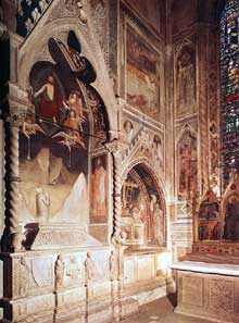 Maso di Banco: Tombe avec fresque décrivant la resurrection d'un membre de la famille des Bardi. 1340s. Fresque. Florence, Santa Croce, chapelle di Bardi di Vernio