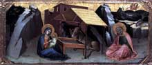 Lorenzo Monaco�: nativit�. Vers 1390. Panneau de peuplier, 26 x 61 cm. Berlin, Staatliche Musee