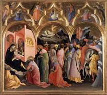 Lorenzo Monaco�: l�adoration des Mages. Vers 1422. Tempera sur bois, 115 x 177 cm. Florence, les Offices