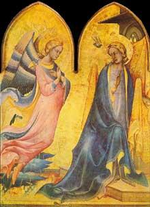 Lorenzo Monaco�: l�annonciation. 1410-1415. Tempera sur panneau. Florence, Galleria dell'Accademi
