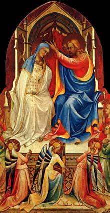 Lorenzo Monaco�: le couronnement de la Vierge avec saints, panneau central. Vers 1414. Tempera � l�oeuf sur peuplier, 217 x 115 cm. Londres, National Gallery