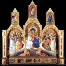 Lorenzo Monaco�: le couronnement de la Vierge avec saints. 1414. Tempera sur bois, 450 x 350 cm. Florence, les Offices
