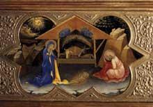 Lorenzo Monaco�: Nativit�. 1414. Tempera sur bois, 32 x 53 cm. Florence, les Offices