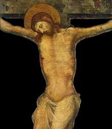 Lorenzo Monaco�: crucifi�, d�tail. Vers 1410. Tempera sur bois, 146 x 84 cm. Budapest, Mus�e des Beaux Arts