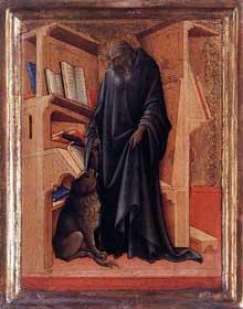 Lorenzo Monaco�: diptyque�: saint J�r�me. Vers 1420. Panneau, 32 x 18 cm. Amsterdam, Rijksmuseum