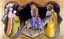 Lorenzo Monaco�: la fuite en Egypte. Vers 1405. Tempera sur peuplie, 21,2 x 35,5 cm. Altenburg, Lindenau-Museu