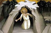 Lorenzo Monaco�: Saint J�r�me dans le d�sert. Tempera sur panneau de peuplier, 23 x 36 cm. Collection priv�e