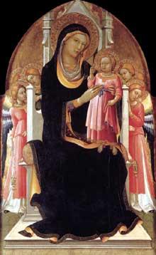 Lorenzo Monaco�: Vierge tr�nant avec l�enfant et six Anges. 1415-1420. Tempera sur bois, 147 x 82 cm. Marid, Colection Thyssen-Bornemisza