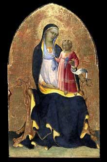 Lorenzo Monaco�: Vierge tr�nant en enfant. Vers 1418. Tempera et or sur bois, 101,60 x 61,70 cm. National Gallery of Scotland