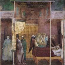 Maître de Sainte Cécile: la légende de saint François: scène 26: la guérison d'un disciple du saint. Vers 1300. Fresque, 270 x 230 cm. Eglise supérieure de Saint François d'Assise
