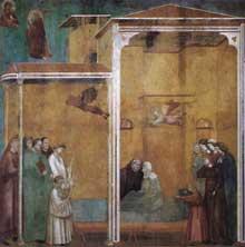 Maître de Sainte Cécile: la légende de saint François: scène 27: femme délivrée de la mort. Vers 1300. Fresque, 270 x 230 cm. Eglise supérieure de Saint François d'Assise