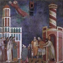 Maître de Sainte Cécile: la légende de saint François: scène 28: libération de l'hérétique repenti. Vers 1300. Fresque, 270 x 230 cm. Eglise supérieure de Saint François d'Assise