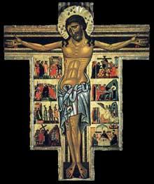 Maître de Saint François Bardi: Crucifix avec scènes du calvaire. Mi XIIIè. Panneau de bois, 247 x 200 cm. Florence, les Offices