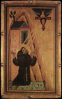 Maître de Saint François Bardi: Saint François reçoit les stigmates. Vers 1240-1250. Tempera sur bois, 81 x 51 cm. Florence, les Offices