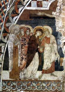 Maître de Saint François: scènes de la passion du Christ: le Christ sur la croix. Entre 1260 et 1280. Fresque. Assise, église inférieure saint François