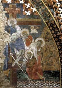 Maître de Saint François: scènes de la passion du Christ: la déposition de la croix. Entre 1260 et 1280. Fresque. Assise, église inférieure saint François