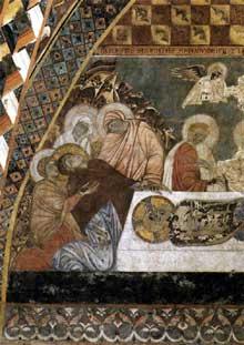 Maître de Saint François: scènes de la passion du Christ: la déploration du Christ mort. Entre 1260 et 1280. Fresque. Assise, église inférieure saint François