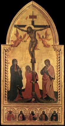 Nardo di Cione: Crucifixion. 1350-1360.Tempera sur bois, 145 x 71 cm. Florence, les Offices