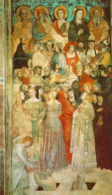 Nardo di Cione: Le Jugement dernier, détail. 1350s; fresque. Florence, Santa Maria Novella, chapelle des Strozzi