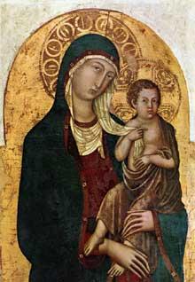 Niccolo di Segna: Vierge à l'enfant. Vers 1336. Panneau de bois, 102 x 67 cm. Cortone, Museo Diocesano. Ce Panneau de bois provient de l'ancienne église Sainte Marguerite à Cortone. Autrefois, il était attribué à Duccio.