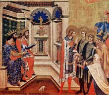 Niccolo Semitecolo: Deux Chrétiens devant les juges. 1367. Tempera sur bois, 65 x 72 cm. Padoue, sacristie de la cathédrale