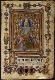 Niccolo ser Sozzo: La vierge de l'Assomption. 1336-1338. Enluminure de manuscrit, 43,6 x 30,5 cm. Sienne, archives de l'Etat, Palazzo Piccolomini