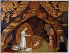 Sainte Brigitte et la vision de la nativité. Après 1372. Tempera sur bois, 44 x 54 cm. Vatican, Pinacothèque