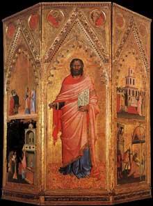 Orcagna: Saint Matthieu et scènes de sa vie. Vers 1367. Tempera sur bois, 291 x 265 cm. Florence, les Offices