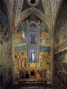 Orcagna: Vue de la chapelle Strozzi. 1350s. Fresque. Florence, Santa Maria Novella, Chapelle Strozzi