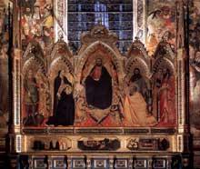 Orcagna: Le retable des Strozzi. 1354-1357. Tempera sur bois, 274 x 296 cm. Florence, Santa Maria Novella, Chapelle Strozzi
