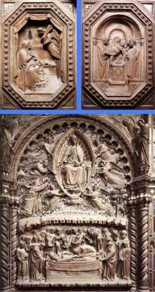 Orcagna: Tabernacle. 1359. Détail des sculptures: deux panneaux octogonaux de la vie de la vierge (présentation de la Vierge au temple et annonciation) et grande scène arrière du tabernacle représentant la dormition et l'Assomption de la Vierge. Florence, Orsanmichele