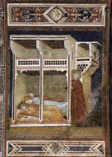 Palmerino di Guido: Saint Nicolas jette des pieces d'or à trois jeunes filles pauvres. 1300-1301. Fresque. Assise, église inférieure Saint François, Chapelle Saint Nicolas