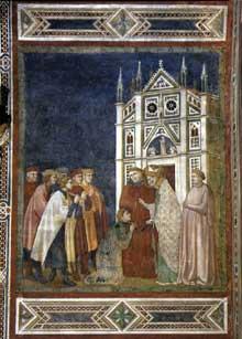 Palmerino di Guido: Saint Nicolas pardonne au Consul. 1300-1301. Fresque. Assise, église inférieure Saint François, Chapelle Saint Nicolas